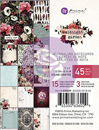 Prima Marketing 636029 Midnight Garden Journaling Cards Pad 3'X4' 45/Pkg-15 Designs/3 Each Each, 15