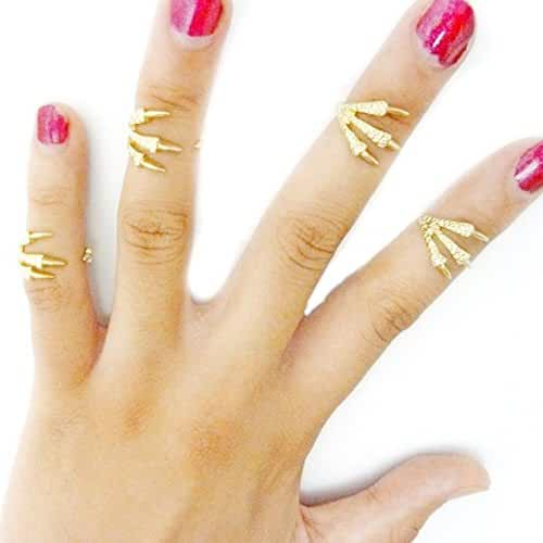 Sannysis 4 Pcs Fashion Women Ring Joint Knuckle Nail Finger Rings Gift
