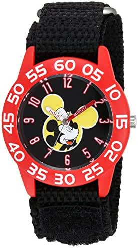 Disney Boy's 'Mickey Mouse' Quartz Plastic and Nylon Casual Watch, Color:Black (Model: WDS000111)