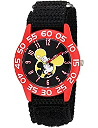 Boy's 'Mickey Mouse' Quartz Plastic and Nylon Casual Watch, Color:Black (Model: WDS000111)