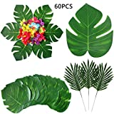 Hawaiian Safari Party Decoration Artificial Tropical Plant Palm Leaves Hibiscus Flower Simulation Monstera Leaves Hawaii Luau Jungle Beach BBQ Birthday Themed Party Table Decor Accessories, 60pcs