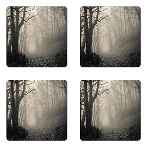 Mysterious Gloss - Lunarable Gothic Coaster Set of Four, Pathway on The Gothic Forest Trees Trough Foggy Mysterious Nature Monochrome Artwork, Square Hardboard Gloss Coasters for Drinks, Beige