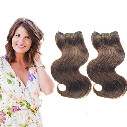 Emmet Brazilian Braids Extension Ombre Color Virgin Hair Can be Dyed and Permed Body Wave Hair Extension Easy Installing&Sewing 8Inch Without warning Size 100% Human Hair Weave 2PCS/Lot 50g/Piece (4#)