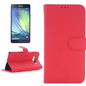 Texture lichis Leather Funda & Holder Case Cover con bolsillos internos para Samsung Galaxy A7/A700F (Red)
