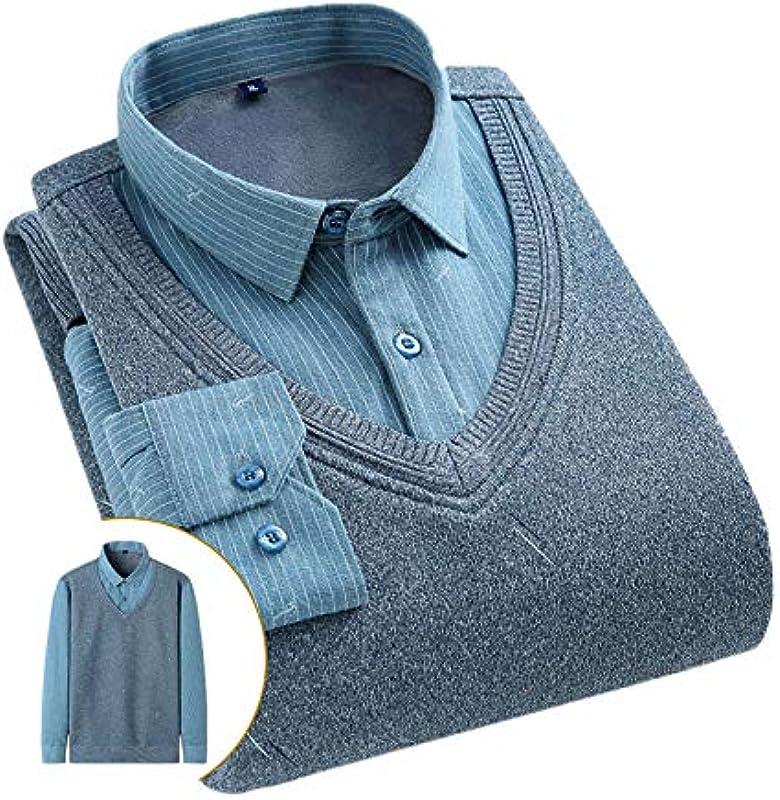 Elonglin męska koszulka z długim rękawem z ciepłą podszewką, krÓj slim fit, szary, 5 XL: Odzież