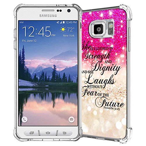 Samsung Galaxy S7 Active Case, SuperbBeast Slim Thin Scratch Resistant TPU Bumper Gel Rubber Soft Skin Silicone Protective Case Cover G891 (Hot Pink Sparkle Glitter Texture Pattern)
