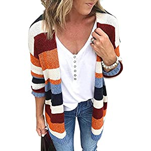 Best Epic Trends 51KF-jKb2xL._SS300_ JUNBOON Women's Striped Long Sleeve Open Front Knit Cardigan Casual Pullover Sweater