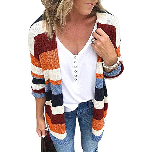 - JUNBOON Women's Striped Long Sleeve Open Front Knit Cardigan Casual Pullover Sweater