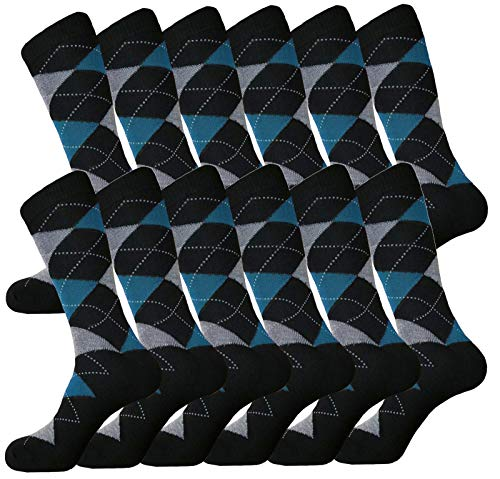 MENS ARGYLE MATCHING DRESS SOCKS SETS GROOMSMEN WEDDING PARTY SOCKS COTTON BLEND 12-PAIRS ROYAL CLASSIC 10-13 (BLACK & TURQUOISE)