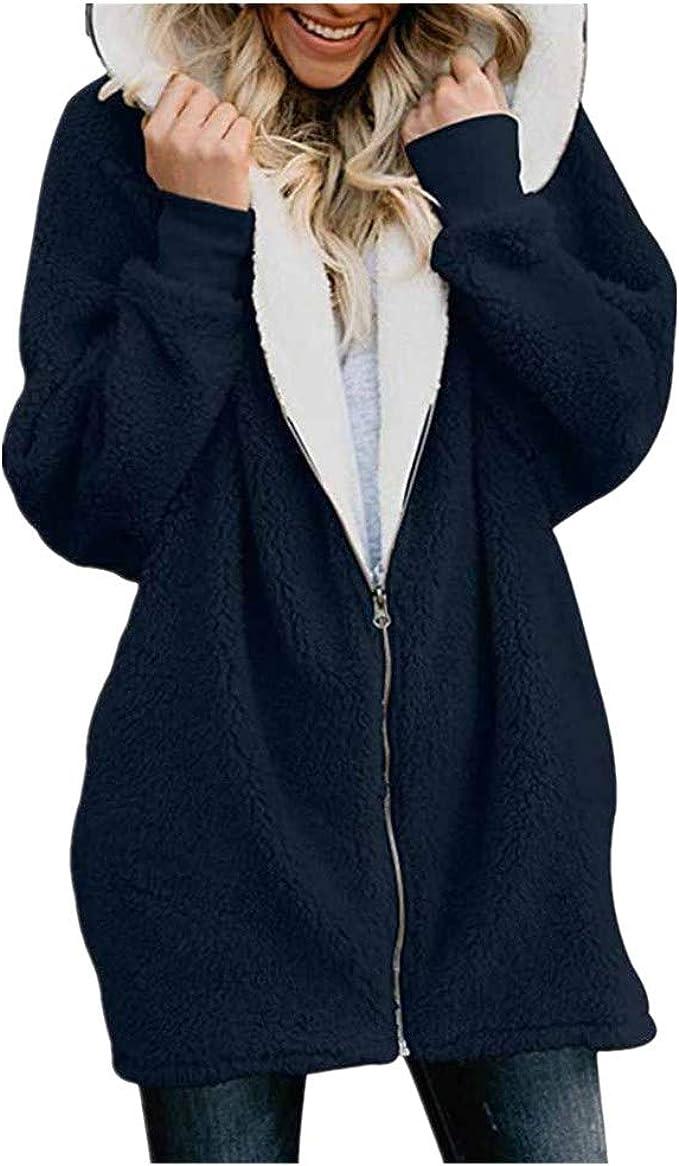 Goosuny Damen Plüschjacke Mit Kapuze Winter Jacke Cardigan Teddyjacke Fleece Kapuzenjacke Künstliche Wollmantel Mantel Outwear Strickjacke Trenchcoat