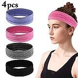 4PCS Yoga Headband Anti-Slip Sweat-absorbent Elastic Running Headband Hair Band Sweatband for Sports Workout Fitness