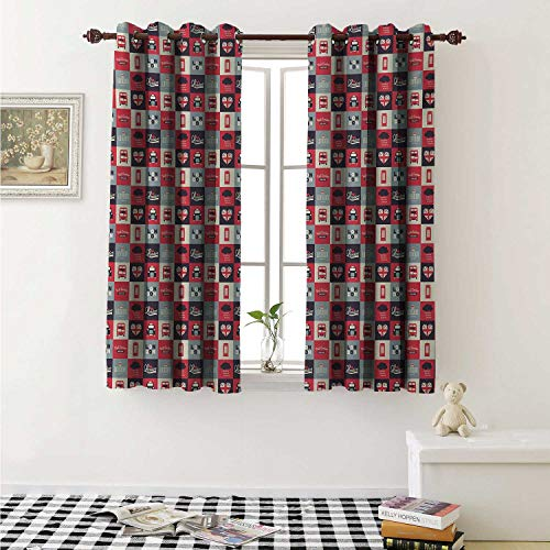 shenglv London Decorative Curtains for Living Room Retro Traditional London Icons in Squares United Kingdom Europe Travel Vacation Curtains Kids Room W72 x L72 Inch Multicolor