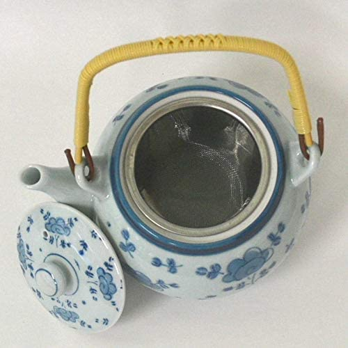Hasami-yaki avec passoire en Acier Inoxydable Fukuda Ceramic Th/éi/ère Japonaise en c/éramique Kyusu Blue Flower Dance Import Japon
