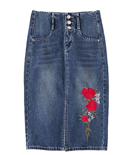 Cheap AvaCostume Women's Side Slit Embroidery Straight Skirt High-waisted Denim Skirt