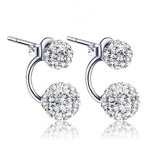 Women Crystal Rhinestone Ear Jacket Earrings Double Ball Drop Ear Stud Earrings Jewelry Gift (Double Ball Earring)