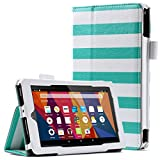 ULAK Fire 7 2015 Case, PU Leather Folio Flip Case Cover for Amazon Fire 7 inch Display 5th Gen 2015 w/Credit Card Memory Card Slots Hand Strap and Accessories Bundle-Mint&White