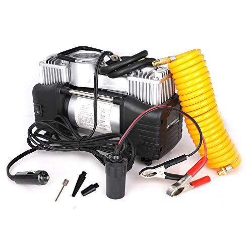 12V Tire Inflator - Dual Cylinder Air Compressor Pump, Heavy Duty Portable Air Pump 150PSI with 3M Extension Air Hose and Battery lamp, 3 Universal Nozzle Adapters for Car, Truck, RV, Bicycle ()