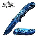 New SPRING ASSIST FOLDING POCKET ProTactical Limited Edition Elite Knife | Femme Fatale Women Girl Blue Rose FF-A008BL