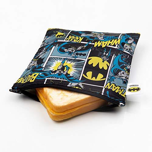 Bumkins DC Comics Batman Sandwich Bolsa /Snack Bag, reutilizable, lavable, apto para alimentos, sin BPA, 7x7