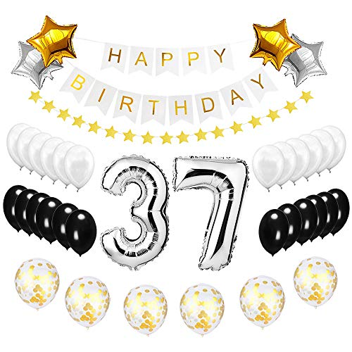 Best Happy to 37th Birthday Balloons Set - High Quality Birthday Theme Decorations for 37 Years Old Party Supplies Silver Black - Air 37th