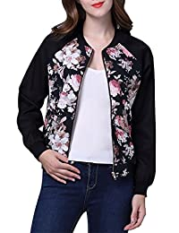 YACUN Women's Long Sleeve Floral Printed Bomber Jacket Coat