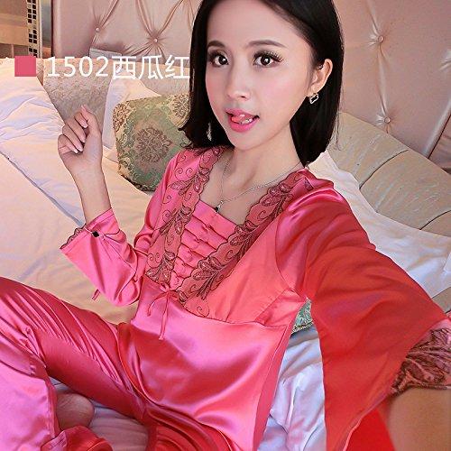 690b424c23 MH-RITA 2017 New Brand Silk Pajamas Set Women Spring Autumn Long Sleeve  Sleepcoat   Pants Nightwear Set Ladies Satin Sleepwear Plus Size 1502  Watermelon S