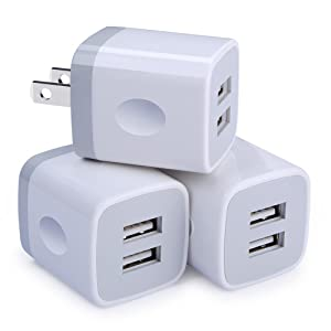 USB Wall Charger,Charging Adapter Embink 3-Pack 2.1A Dual Port USB Wall Charging Plug Block Travel Charger Cube Replacement for iPhone X 8/7/6 Plus,iPad,iPod,Samsung,Huawei,LG,Android Phone