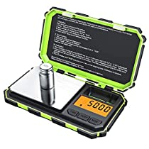 AMIR Digital Mini Scale, 200g 0.01g Pocket Scale, 50g Calibration Weight, Electronic Smart Scale with 6 Units, LCD Backlit Display, Tare Function, Auto Off, Stainless Steel