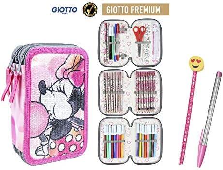 Plumier Estuche Artesanía Cerda Premium de cremallera triple 3 pisos MINNIE MOUSE lentejuelas - 43 piezas contenido Giotto + REGALO: Amazon.es: Oficina y papelería