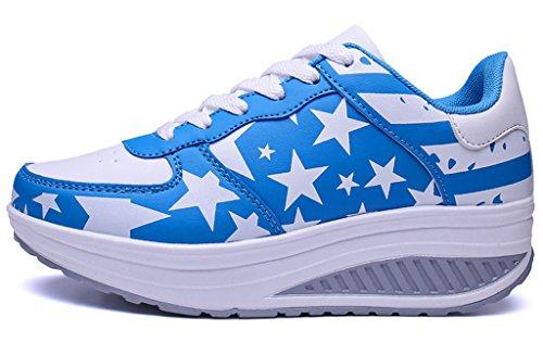 Azul NEWZCERS atletismo de Zapatillas de Material Sintético mujer para PZZ8qr4UK