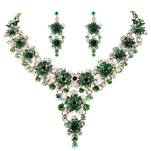 BriLove Wedding Bridal Necklace Earrings Jewelry Set Crystal Multi Hibiscus Flower Enamel Statement Necklace Dangle Earrings Set Emerald Color Gold-Toned ()