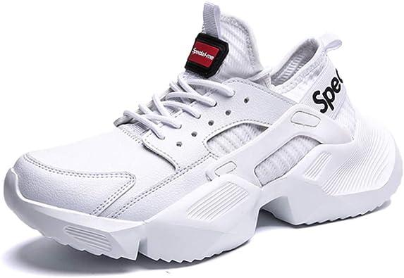 Zapatillas de Deporte Gruesas para Hombres Suelas Gruesas Zapatillas de Deporte de amortiguación Masculinas Deportes Ocasionales Zapatillas de Deporte de PU en Blanco y Negro: Amazon.es: Zapatos y complementos