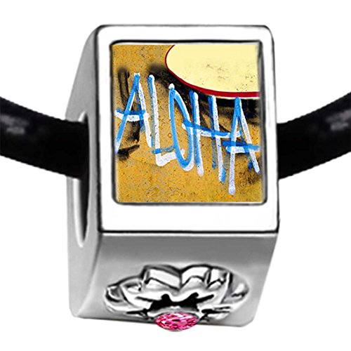 Aloha On The Hawaii Sand Photo Light Rose Crystal October Birthstone Flower Bead Charm Bracelets