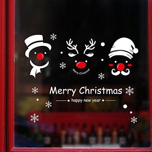 heekpek Autocollants De Merry Christmas Renne Flocon de Neige Autocollants De Noë l Amovible pour Fenê tre Mur Porte Vinyle Dé coration Exté rieur De Noë l Magasin Fenê tre Stickers
