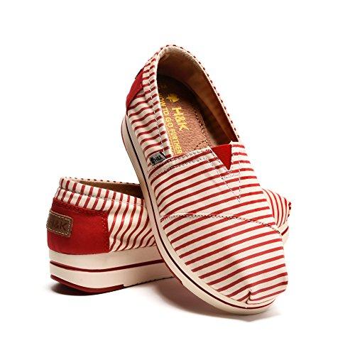 TIOSEBON Womens Canvas Slip-on Toning Shoe Walking Sneaker 6211 Red RC3C2WU9LI