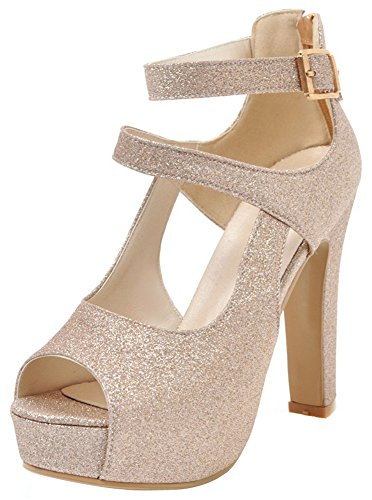 Sequin Peep Toe Platform - Mofri Women's Sequined Peep Toe Sandals - Buckle Strappy Zipper up Gladiators - Platform Chunky High Heels Shoes (Gold, 8.5 B(M) US)