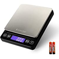Kitchentour Báscula Digital para Cocina de 500g/0.01g, Balanza Multifuncional de Alta Presición de Alimentos, Joyería y Más con Plantalla LCD Retroilunminada (Baterías Incluidas) …
