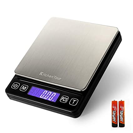 KitchenTour Digital Kitchen Scale - 500g/0.01g High Accuracy Precision Multifunction Food Meat Scale