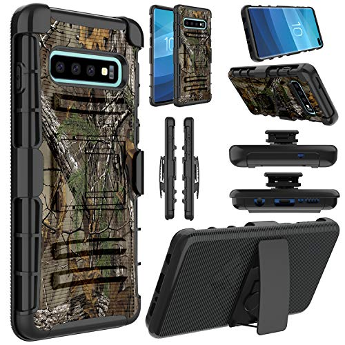 Galaxy S10 Plus Case, Elegant Choise Hybrid Shockproof Heavy Duty Full Body Protective Rugged Holster Case Cover with Kickstand and Swivel Belt Clip for Samsung Galaxy S10 Plus(Camouflage)