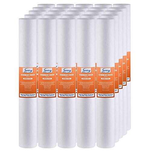 iSpring FP25X25 5 Micron 20-Inch X 2.5-Inch Sediment Filter Replacement Cartridges, 25-Pack ()