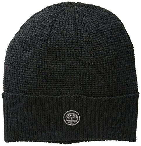 Timberland Men's Waffle Knit Watch Cap with Ribbed Cuff, Black, One Size