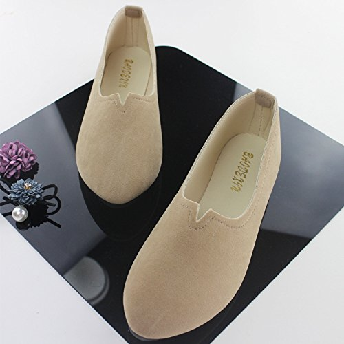 heel Suede Flat pointed shallow shoes Women's mouth thin Khaki Plastic qwxBtvp