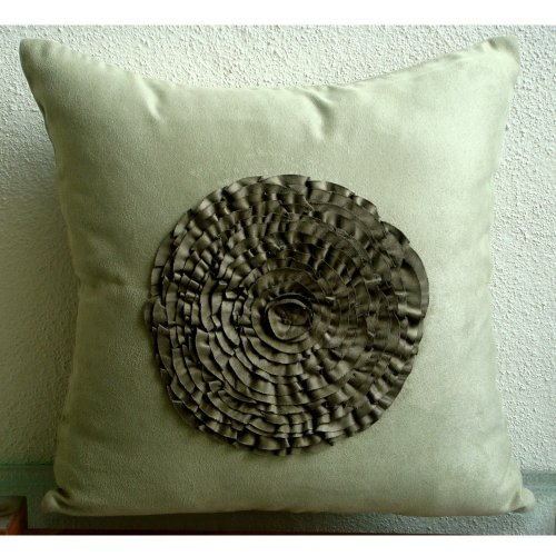 Luxury Olive Green Pillow Covers, Vintage Style Frills Medal
