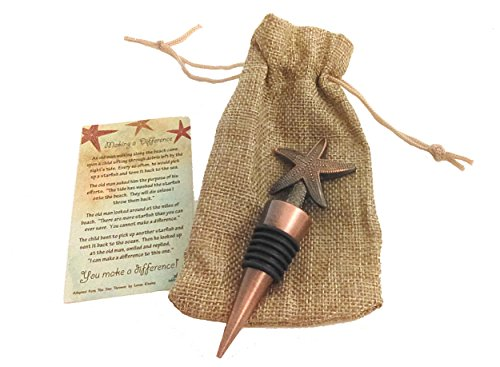 Decorative Starfish Poem Story Wine Bottle Stopper Antique Copper with Burlap Gift Bag by Inkfish and Co. (Image #5)