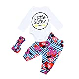 Newborn Letter Little Sister Print Sets,Jchen(TM) for 0-24 Months 3PCS Toddler Baby Girls Letter Print Long Sleeve Tops+Floral Pants+Headband Autumn Outfits (Age: 18-24 Months)