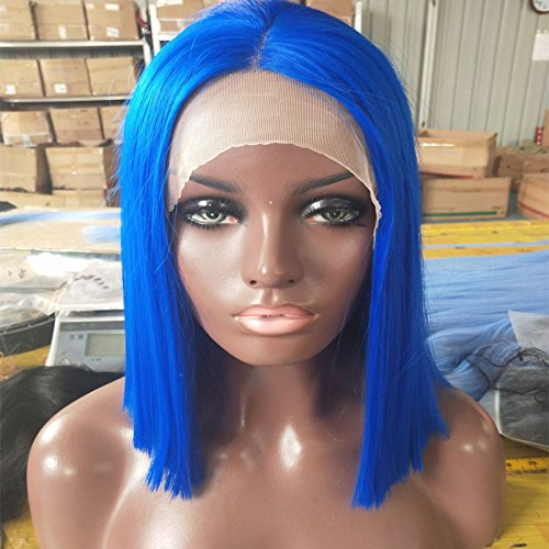 Blue Synthetic Hair Bob Lace Front Wigs Heat Resistant Fiber Hair Half Hand Tied Short Bob Blunt Wig Middle Part (12inch) by RJ Hair