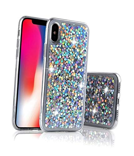 for iPhone 6 Plus Case for iPhone 6S Plus Case, LAPOPNUT Bling Case Gradient Ombre Colour Lattice Glitter Luxury Holographic Sparkle Shiny Sequins Cover Extra Thin Soft TPU Protective Case, - Iphone Color Case 6 Ombre