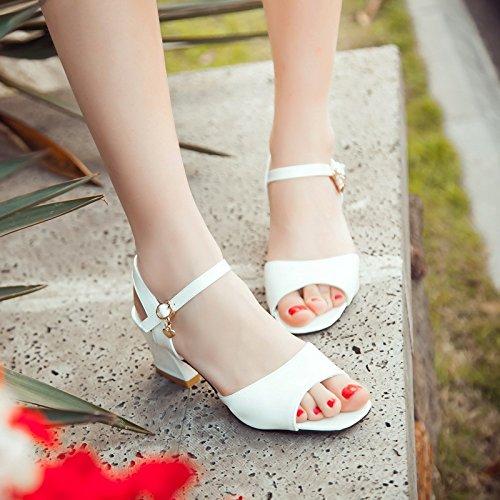 spesse con con red toe caramelle dolce alto con ZHZNVX fibbia sandali tacco sandali parola Nuovi open il bassi Pink sandali colore estive scarpe TASBAPy7W