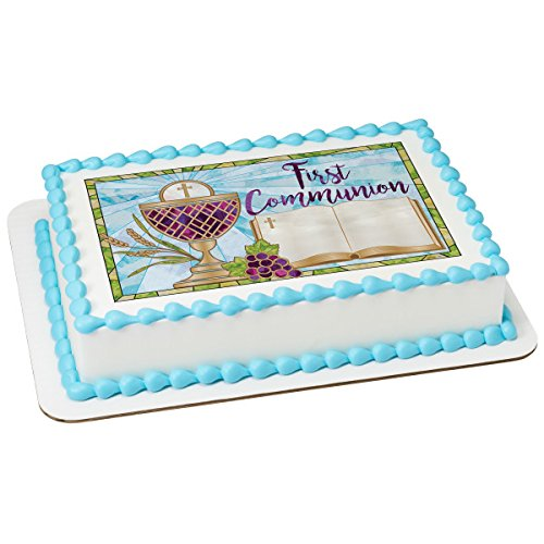 First Communion PhotoCake Edible Frosting Image 1/4 sheet Cake Topper ()