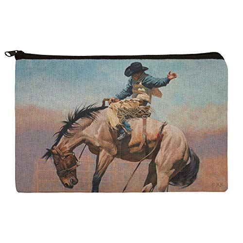 (Saddle Bronc Horse Cowboy Riding Rodeo Event Pencil Pen Organizer Zipper Pouch Case )